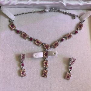 Womens pink Rhinestone necklace/earrings.Fifth Ave